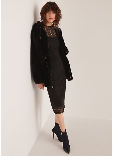 Beymen Collection Güpür Dantelli Kolsuz Midi Elbise Siyah